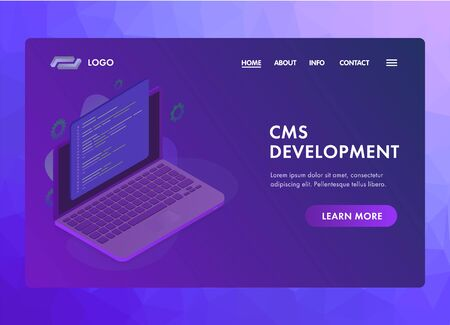 Website CMS (content management system) development UI UX web vector template or landing page concept. Programming and installation cms for website managing. Isometric laptop with programmer code.