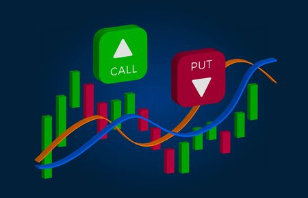 Binary Option - Call and Put Buttons with up and down arrows and price candles chart. Currency exchange market price with green and red bars