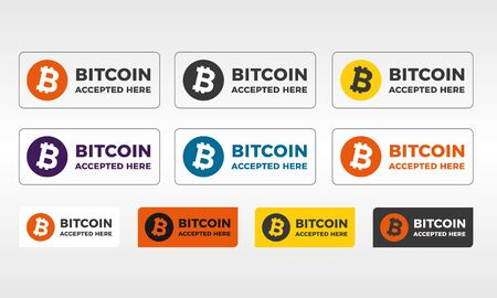 Bitcoin vector icon set, color buttons and banners, sign emblem with text bitcoin accepted here isolated on white background. Modern Illustration in flat design.