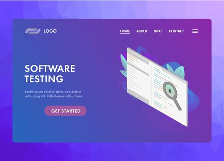 Software Testing concept. Program code screen with debugging development process. Bug fixing IT-software application with magnifier metaphor and bug. UI isometric web template, landing page.