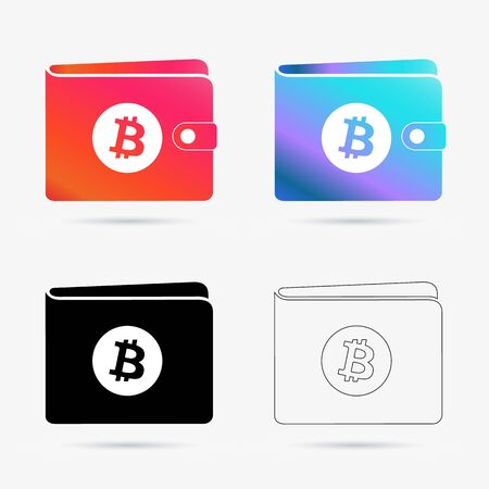 Bitcoin wallet - flat and outline vector icon set with digital crypto currency BTC logo, isolated on grey backgrond