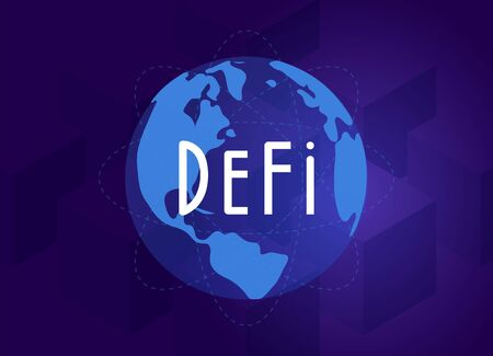 DeFi - Decentralized finance - open-source community of projects, leveraging blockchain, that develops solutions in decentralized financial system. Flat vector illustration DeFi fintech concept.