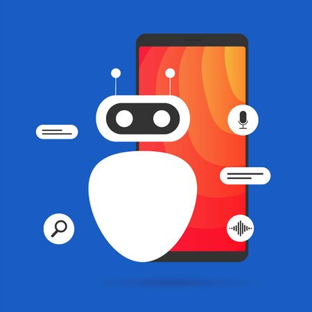 A smart bot that recognizes speech and sounds and helps you control your mobile phone with voice. Robot helps in finding information, online communicating service on different topics flat vector.