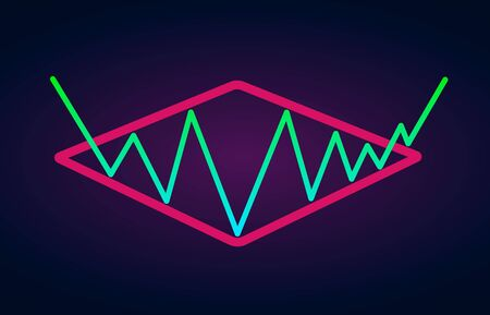 Diamond pattern - bullish formation continuation figure, chart technical analysis. Vector stock, cryptocurrency graph, forex analytics, trading market price breakouts icon.