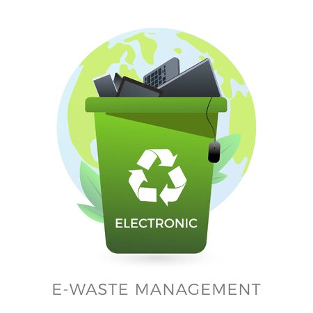 E-waste management concept - waste recycle container bin with old electronic equipment - laptop, phone, keyboard, mouse, computer. Vector illustration icon in flat style isolated on white background.