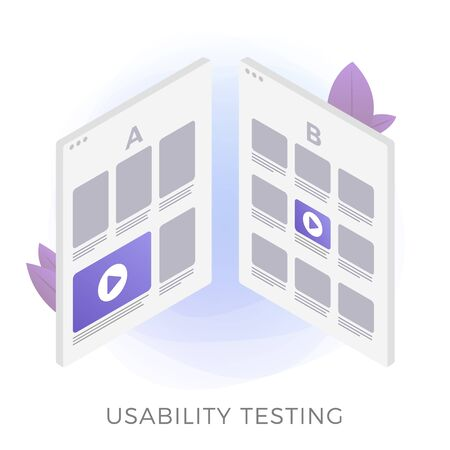 Usability testing flat vector icon concept. Prototype of two different UI web app interfaces for test. A-B comparison with positive feedback, illustration isolated on white background