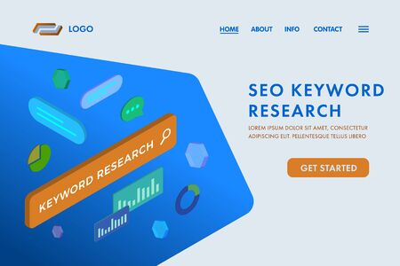 SEO Keyword Research - on-page optimization website template. Research and analysis popular search terms with engine optimization. UI isometric vector web page template for landing page, banner.
