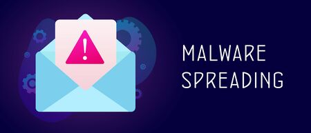 Malware Spreading Virus that causes damage and loss private information. Malware (came from 2 words: malicious and software) irrelevant unsolicited spam message header footer banner template with text.
