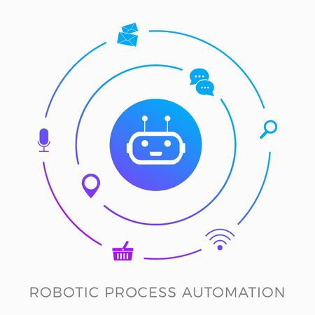 RPA - Robotic Process Automation, innovation technology vector icon concept. Training a AI robot with artificial intelligence to facilitate production processes and routine tasks. Isolated on white.