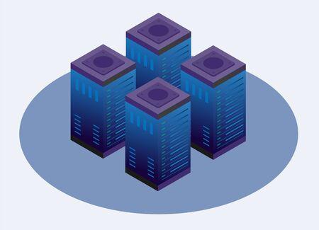 Concept of server cloud hosting, data center.