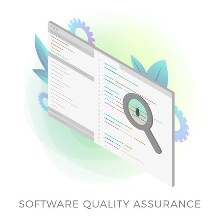 Software Quality Assurance (SQA) isometric vector icon.