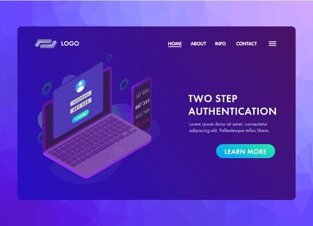 2-step authentication concept. Two steps 2FA Verification password code. Isometric laptop and smartphone with authentication login form UI UX web vector template or landing page.