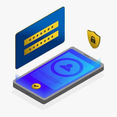 Isometric mobile security app modern concept. Application lock software on smartphone screen with login and password form and security padlock icon. Protection wireless shopping pay through phone