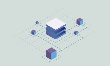 Blockchain technology, smart chain decentralized secure storage vector concept illustration. Abstract isometric blocks connected to each other by one line. For slider, banner, web design.