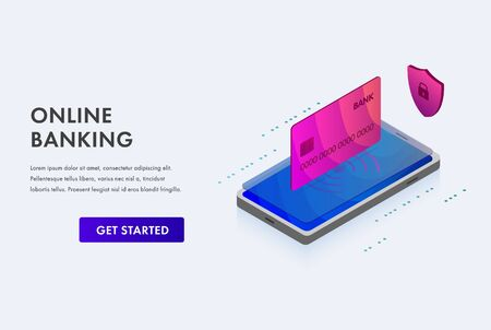 Online Mobile Banking - mobile payment finance technology business concept with personal data protection. Isometric 3D illustration smartphone and bank card icon on white background. Zdjęcie Seryjne - 140171648