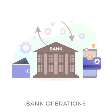 Bank operations flat vector icon concept. Bank building on white background, around gears, arrows and bank card with different currencies and an online banking mobile application for exchanging money. Zdjęcie Seryjne - 140171707