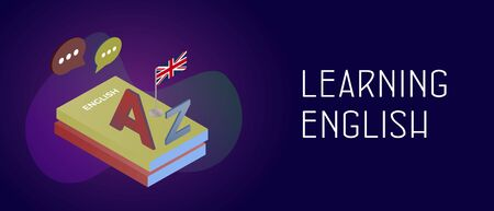 Learning english language concept. English Textbooks and England flag, A and Z letters of Latin alphabet. E-learning and teaching header footer banner web template with text. Ilustracja