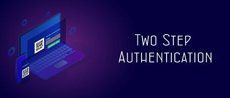 Two step authentication secure concept. Enable 2FA 2 steps verification password code. Isometric smartphone and laptop with UI UX authentication login form. Header and footer banner template with text.