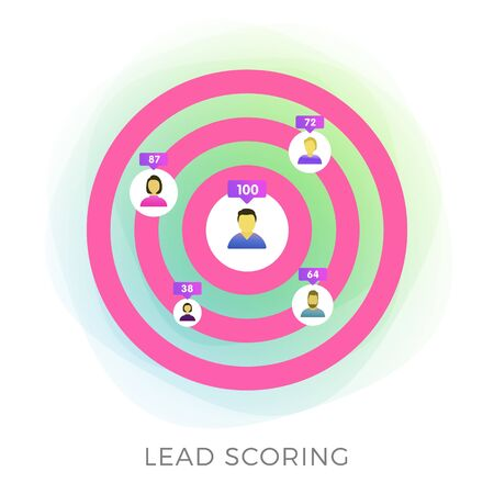 Lead Scoring flat vector icon. Marketing strategy, predictive sales and targeted advertisement illustration isolated on white background. Ideal customer profile business concept.  イラスト・ベクター素材