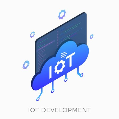 IOT development isometric vector icon concept with smart cloud, window with program code in the background. Software development for Internet of Things, machine learning or big data graphic sign