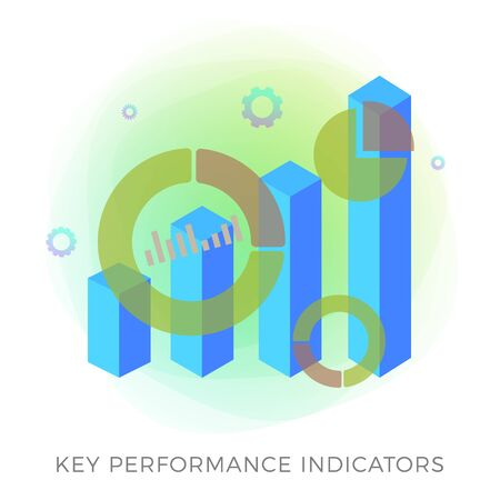 Key Performance Indicator (KPI) - Business Intelligence strategy with metrics and planned targets. Company management, growth indicators vector icon and infographic charts isolated on white background Иллюстрация