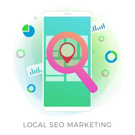 Local SEO Marketing flat vector icon concept. Search Engine Optimization results based on regional and client geo-positioning. Advertising a local business store through inbound marketing process. Illustration
