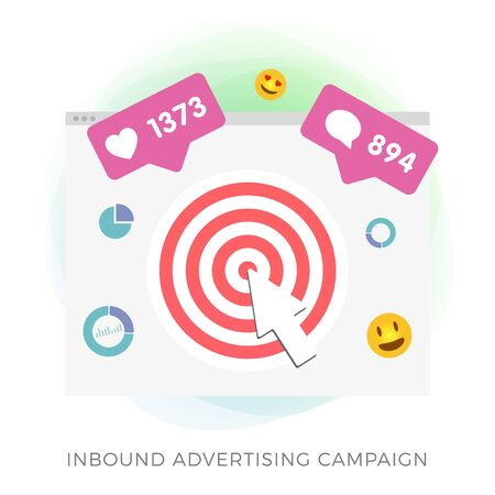 Inbound advertising flat vector icon - Programmatic Advertising cross targeting. Targeted and digital marketing industry ads effect concept with browser window isolated on white background.