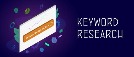 SEO Keyword Research concept. Research and analysis popular search terms with engine optimization. Browser window with search bar and chart icons. Header and footer banner template with text Illustration