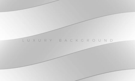 Luxury Premium silver background and wallpaper illustration. Modern light white-grey background with stylish curved lines. Rich abstract design for header, website template, landing page, banner. Ilustração
