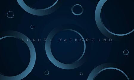 Luxury Premium wallpaper illustration. Modern dark blue background with stylish aquamarine geometric circles and rings. Rich black abstract background for header, website template, landing page Banco de Imagens - 148673562