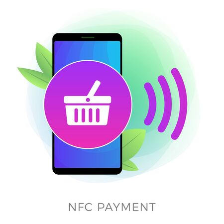 NFC payment - Mobile money transferring technology concept. Contactless buy with smartphone, use online banking. RFID chip Phone with attached bank cards for secure electronic payment transaction. Illusztráció