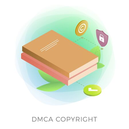 DMCA Protection - Digital Millennium Copyright Act isometric vector icon. Security Content, electronic digital contract, intellectual property book with lock isolated on white background