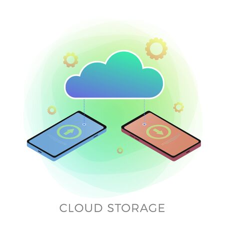 Cloud storage isometric vector icon concept. Downloading and online saving confidential information between two mobile phones. Private and secure cloud hosting data transfers isolated on white.