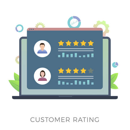 Customer Rating flat vector icon concept. Increase ranking, evaluation and classification, know your client idea. Laptop with customer review rating messages. Online reputation management system. Illusztráció