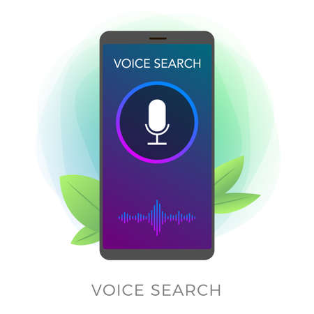 Voice search technology flat vector icon. Sound recognition, speech detect and deep learning concept. Application with microphone and wave icon on mobile phone screen isolated on white background.