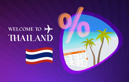 Welcome to Thailand vector illustration concept. Sale of tours in Thai after quarantine due to coronavirus epidemic. Discounts on air tickets, hotels. Travel across Thailand with white sands and palm.