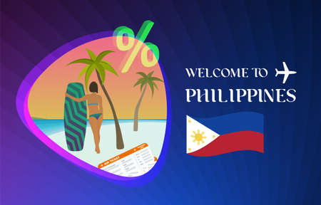 Welcome to Philippines vector illustration concept. Sale of tours in Philippines Manila, Boracay or Sebu island after quarantine due to coronavirus epidemic. Discounts on air tickets, hotels. Ilustração