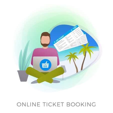 Online Flight Ticket Booking flat vector icon. Mobile application or website service for buying, booking and reserving travel holiday, vacation air tickets. Man makes his journey reservations