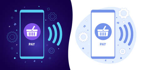 Online payment - NFC Mobile money transferring technology concept. Icon set concept with black and white background, dark ultra violet neon glowing thin icon and light-blue illustration.