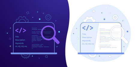 SEO - search engine optimization business icon set concept with black and white background, dark ultra violet neon glowing thin icon and light-blue illustration. Online website optimization strategy. Ilustração