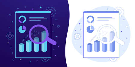 Business Growth vector concept with black and white background, dark ultra violet neon glowing thin icon and light-blue illustration. Document with charts and statistics of company growth and profits.