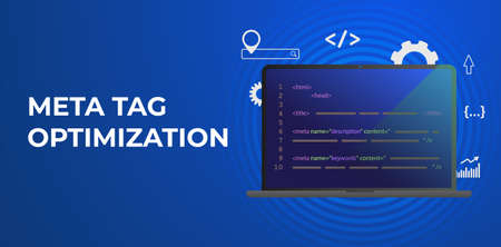Meta Tag Optimization, HTTP website header SEO (search engine optimization) elements - meta description and title tags. Horizontal vector banner illustration for header with conceptual marketing icons