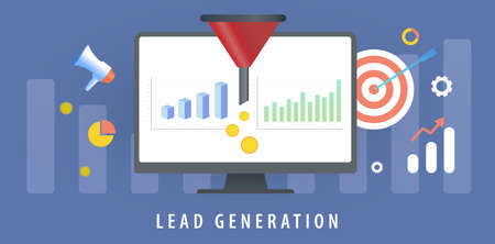 Lead Generation with sales funnel concept for generating new business leads. Increasing conversion rates, inbound marketing strategy. Target Audience to increase revenue growth and sales optimization