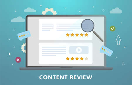 Website Content Review concept. Feedback, audience engagement, reviews and rating, testimonials and communication. Creative writing for blog, copywriting for web site articles with stars rating.