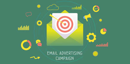 Email Advertising Campaign concept. Digital Marketing Business Strategy, Inbound and Outbound Advertisement. Reaching target audience with e-mail letter. Drip e-marketing header vector banner template Vektoros illusztráció
