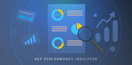 KPI, Key Performance Indicator concept. BI (Business Intelligence) strategy with planned targets and metrics. Company management, growth indicators vector icon and infographic charts.