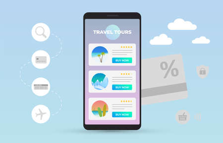 Online travel agency to sale tours. Mobile phone with open site or app with a list of adventure tours to the mountains, summer vacation on the sea, ocean or holiday with surfing in tropical islands.