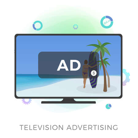 Television Advertising flat vector icon. Multimedia targeted tv marketing and addressable video broadcasting advertising concept. Isolated on white background vector illustration. Çizim