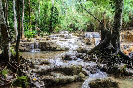 tat: Waterfalls on the way to Tat Kuang Si at Luang Prabang.