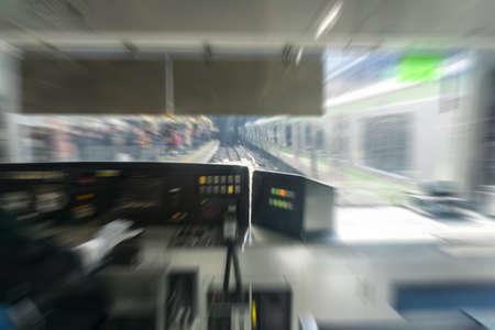 rigor: Train Conductor in blurred Stock Photo